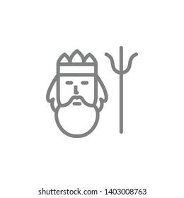 Poseidon icon. Element of myphology icon. Thin line icon for website design and development, app development. Premium icon