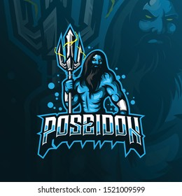 poseidon mascot logo design vector with modern illustration concept style for badge, emblem and tshirt printing. poseidon illustration with trident.