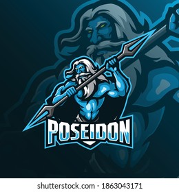 poseidon mascot logo design vector with modern illustration concept style for badge, emblem and tshirt printing. angry poseidon illustration for sport team.