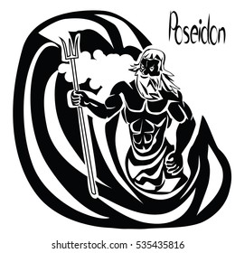 Poseidon or Neptune god in the middle of the whirlpool with a trident in his hands black vector illustration isolated on a white background. Athletic build, strong arms, beard