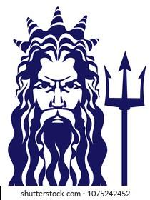 Poseidon neptune vector illustration