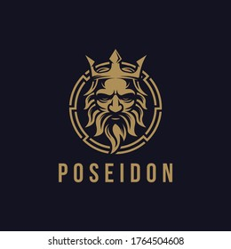 Poseidon nepture god logo icon, tritont trident crown logo icon vector template on dark background