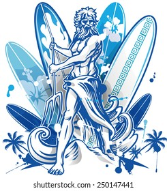 Poseidon surfer on blue surfboard background with palm tree