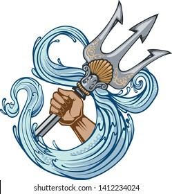 Poseidon trident symbol of power and water logo. Vector Illustration and isolated.