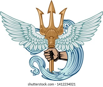 Poseidon trident symbol of power with wings and water logo. Vector Illustration and isolated.