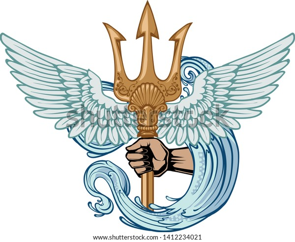 Poseidon Trident Symbol Power Wings Water Stock Vector