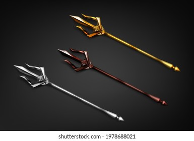 Poseidon tridents, marine God Neptune weapon of gold, silver and bronze colors. Sharp pitchforks decorated with ornamental forgery. Isolated forks on black background. Realistic 3d vector illustration