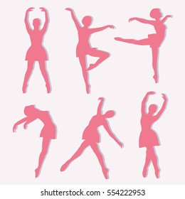 Poses of ballet: hand drawn icons set. Big collection of decorative objects. Colorful illustration with girls dancing. Collection of dance steps