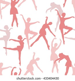 Poses ballet: hand drawn seamless pattern vector. Big collection sketch objects. Colorful illustration with isolated element. Dance show