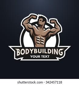 Posing bodybuilder, badge, emblem. Against a dark background.