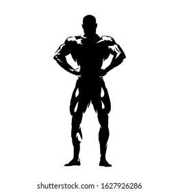 Posing bodybuilder, isolated vector silhouette, ink drawing