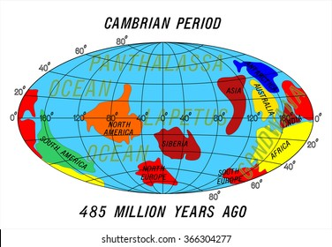 position Continents Cambrian Period