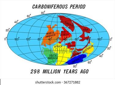position Continents Carboniferous Period