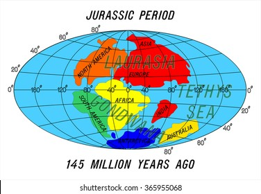 position Continents Jurassic Period