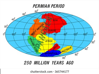 position Continents Permian Period