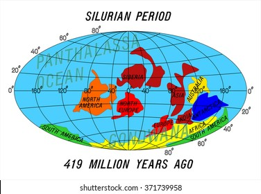 position Continents. Silurian Period