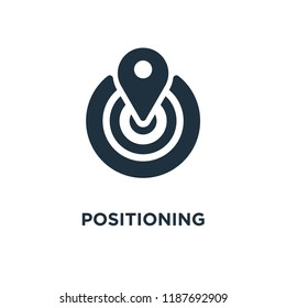 Positioning icon. Black filled vector illustration. Positioning symbol on white background. Can be used in web and mobile.