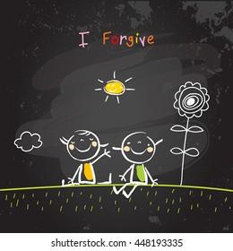 Positive affirmations for kids, motivational, inspirational concept vector illustration. I am forgiving text, typography. Chalk sketch on blackboard hand drawn doodle, scribble.