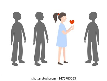 Positive bright girl with a heart in her hands among the gray crowd of people. Donor and recepient. Vector illustration.