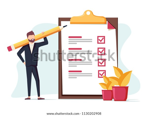 Positive business man with a giant pencil on his shoulder nearby marked checklist on a clipboard paper. Successful completion of business tasks. Flat vector illustration. Bsuiness brief, office life