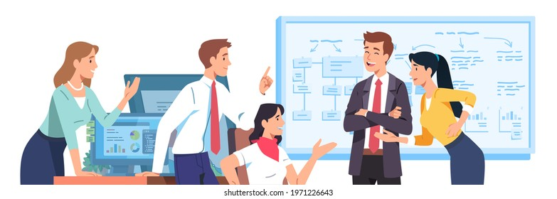 Positive business men, women team planning discussing project together in office. Friendly colleague persons brainstorming talking, gesturing. Efficient teamwork communication flat vector illustration