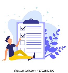 Positive business people sit while pointing at a nearby checklist marked on paper clipboard. Successfully complete business assignments. Flat vector illustration.