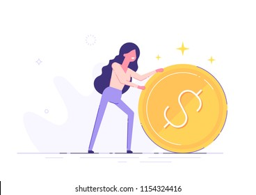 Positive businesswoman is rolling a huge golden dollar coin. Earning, saving and investing money concept. Flat vector illustration.