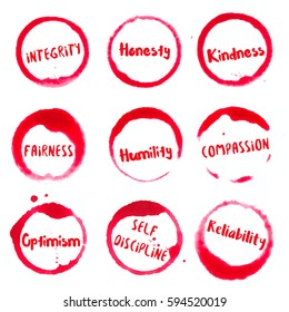 Positive Character Traits collection of round watercolor stains with integrity, honesty, kindness, humility, compassion, fairness, reliability, self discipline, optimism text.