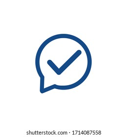 Positive comment mark tick yes icon vector