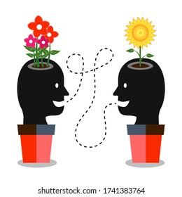 Positive communication is good for mental wellbeing. Two cartoon heads talking with one another. The flowers symbolize happy or creative minds. The head in the pot symbolizes growth.
