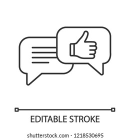 Positive customer feedback linear icon. Excellent review. Thin line illustration. Chatting. Like. Online communication. Contour symbol. Vector isolated outline drawing. Editable stroke