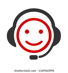 Positive dispatcher, happy emotion, cartoon emoticon - vector for stock