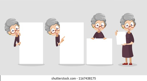 Positive elderly woman pointing on blank banner with space for text. Senior woman with finger pointing gestures. Funny granny standing with big and small white banner. Old people vector illustration