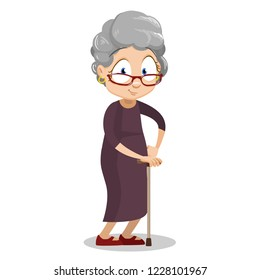 Positive elderly woman wearing brown dress with walking stick. Unhealthy granny with rheumatism cartoon animated personage. Old female patient rehabilitation after trauma vector illustration