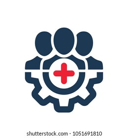 Positive employee icon. Management icon with add sign. Management icon and new, plus, positive symbol. Vector icon