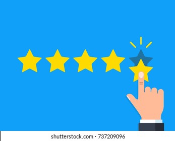 Positive feedback concept. Business hand give five star rating. Minimal flat vector illustration