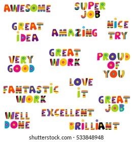Positive feedback messages in colorful pattern
