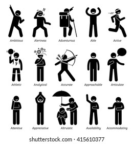 Positive Good Personalities Character Traits. Stick Figures Man Icons . Starting with the Alphabet A.