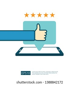 positive good review with hand thumb up symbol on phone social media notification. five stars service or product rate recommendation opinion and customer approve concept