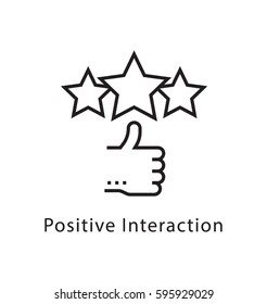 Positive Interaction Vector Line Icon