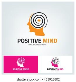 Positive Mind Logo design template ,Vector illustration  Positive mind logo vector design Template , Mind logo ,