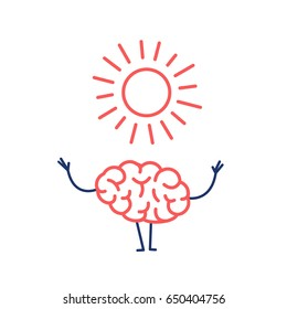 Positive mind. Vector concept illustration of happy brain with symbol of sun   flat design linear infographic icon red and blue on white background