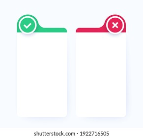 positive and negative comparison, pros and cons list, vector design