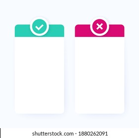 positive and negative, pros and cons list, vector design