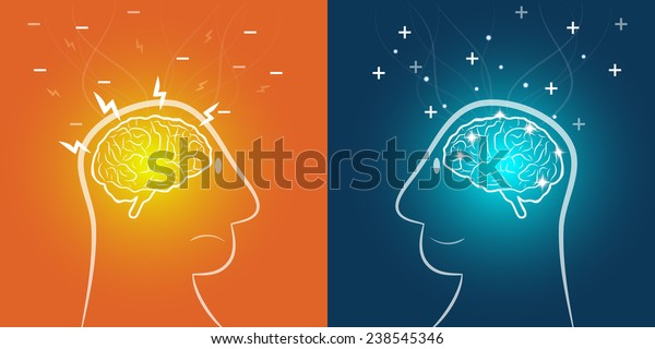 Positive & Negative thinking - Vector