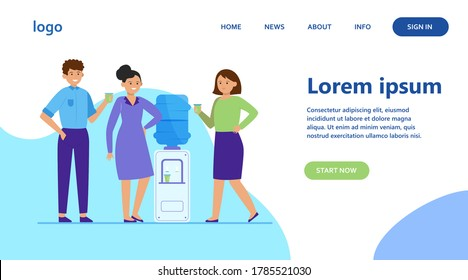 Positive people drinking water at cooler. Office colleagues, chatting, break flat vector illustration. Beverage, refreshment, watercooler concept for banner, website design or landing web page