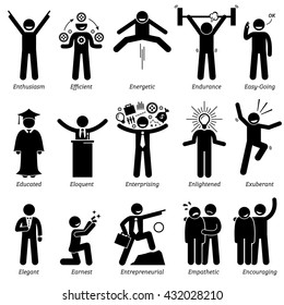 Positive Personalities Character Traits. Stick Figures Man Icons. Starting with the Alphabet E.