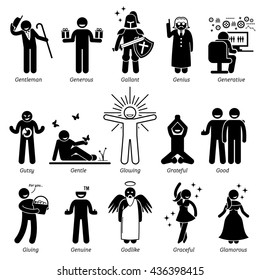 Positive Personalities Character Traits. Stick Figures Man Icons. Starting with the Alphabet A.