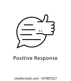 Positive Response Vector Line Icon