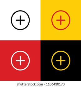 Positive symbol plus sign. Vector. Icons of german flag on corresponding colors as background.